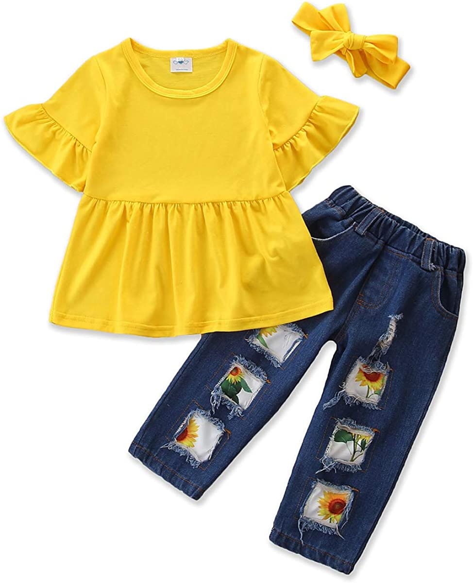 2pcs//Set Toddler Kids Girl Sunflower Outfits Sleeveless Vest Tops Floral Denim Shorts Outfits