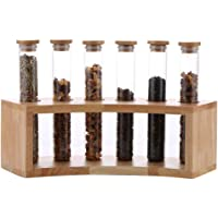 Glass Food Storage Jars with Airtight Seal Wood Lid and Sturdy Base, Test Tube Rack for Storage Or Display Coffee Beans, Grains,Tea, Sweets, Flower