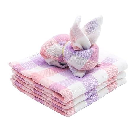 Bambú Fibra suave pequeños cuadros bebé toallas (3 unidades, 10 x 10 cm)