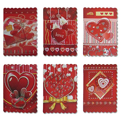 Mini-Hearts-Valentines-Greeting-Cards-With-Red-Envelopes-24-Cards-In-Assorted-Rich-And-Glittery-Colors-And-Designs-With-Beautiful-Scalloped-Edges-Blank-Inside-The-Ideal-Card-For-Someone-You-Love