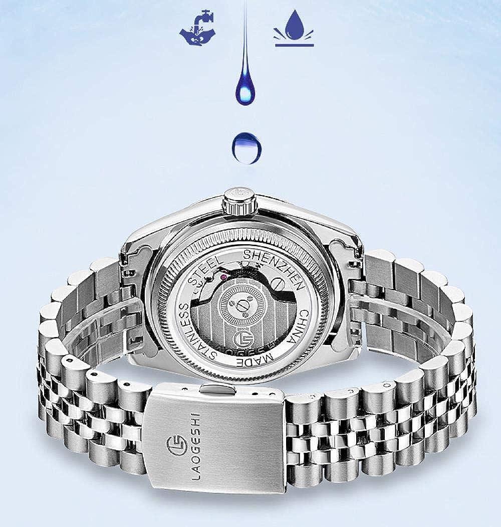 Montres Bracelet,Calendrier des Affaires Montre pour Homme Étanche avec Diamant Montre Mécanique Automatique À Bande en Acier Between Gold And Black