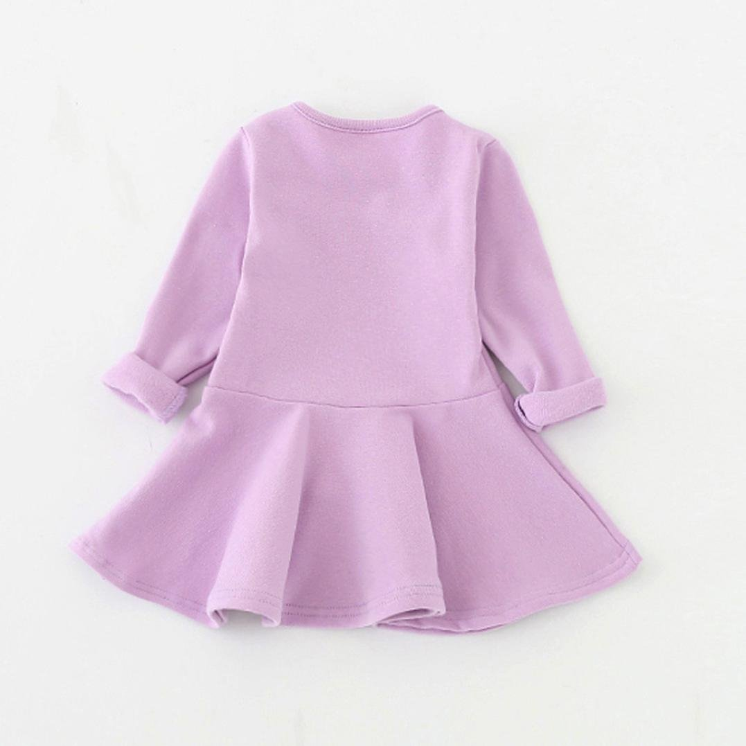 Vovotrade Adorable Cute Baby Girls Candy Color Princess Dress Long Sleeve Solid Casual Toddler Kids Dress