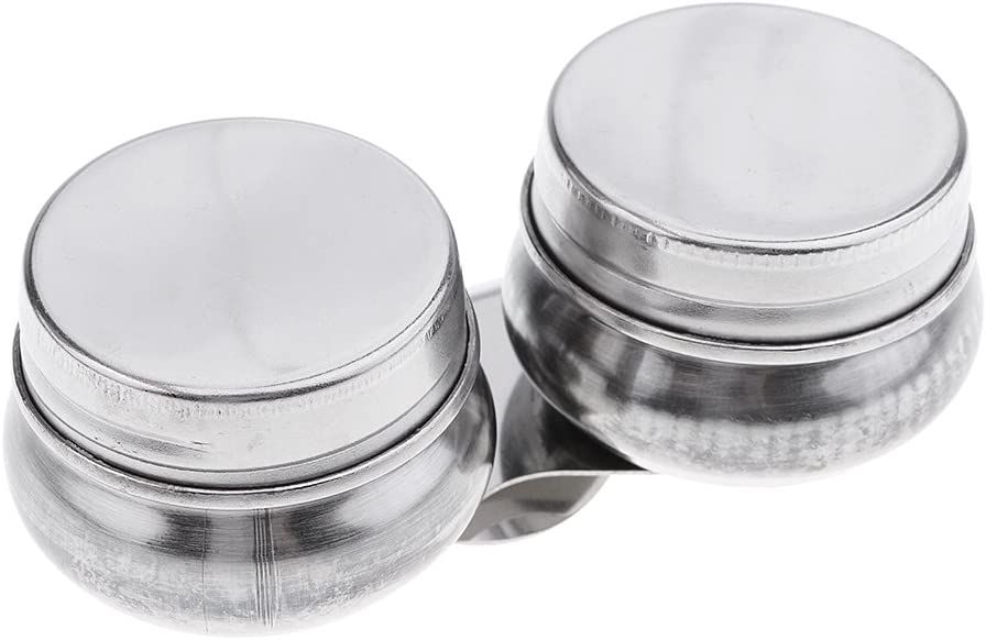 Painting Pot with Lid Artists Stainless Steel Double Dipper Palette Clip LB