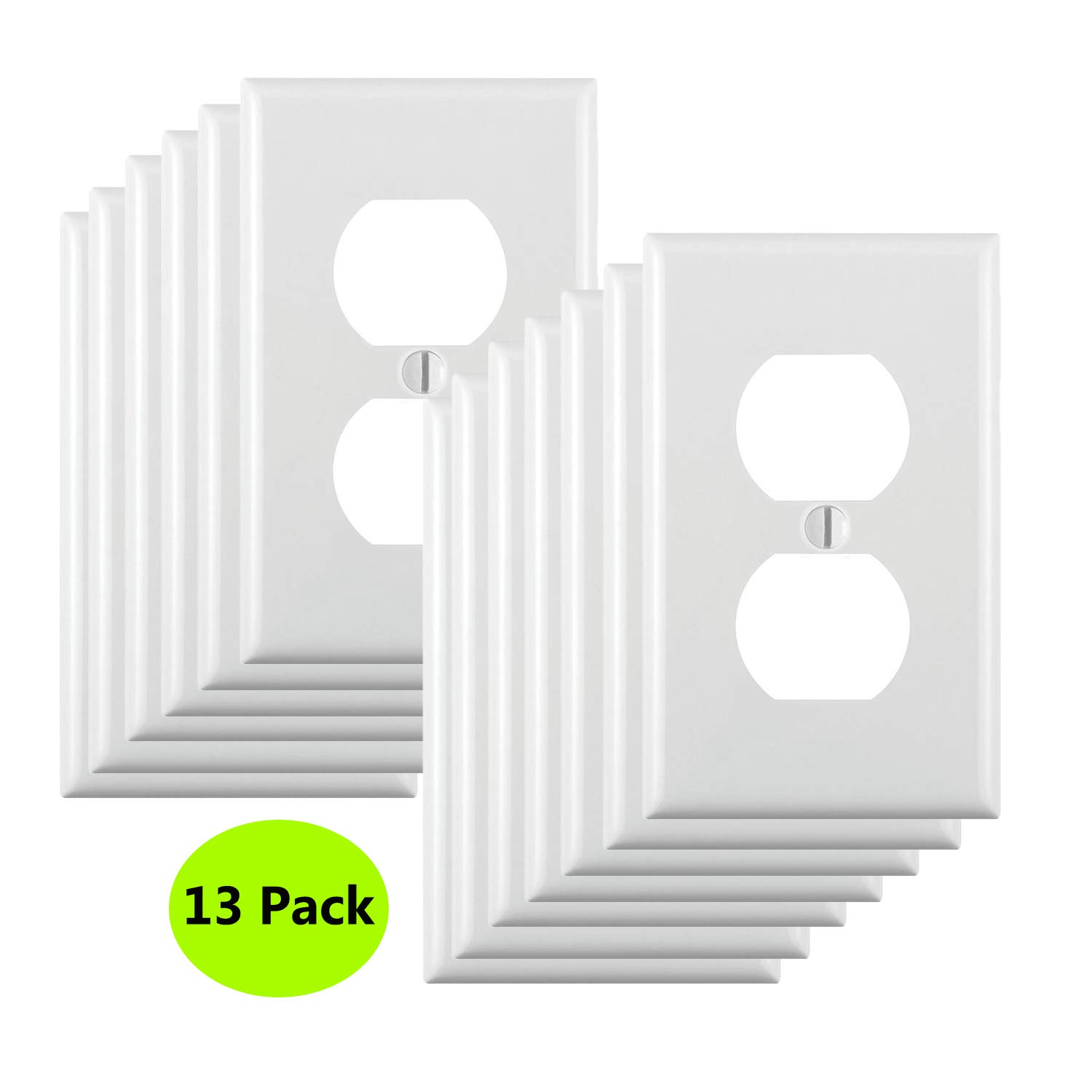 13-Pack, Duplex Receptacle Outlet Wall Plates, Standard Size,Impact Resistance, Anti Aging and High Temperature Resistance PC Face Plates,White by JustFast