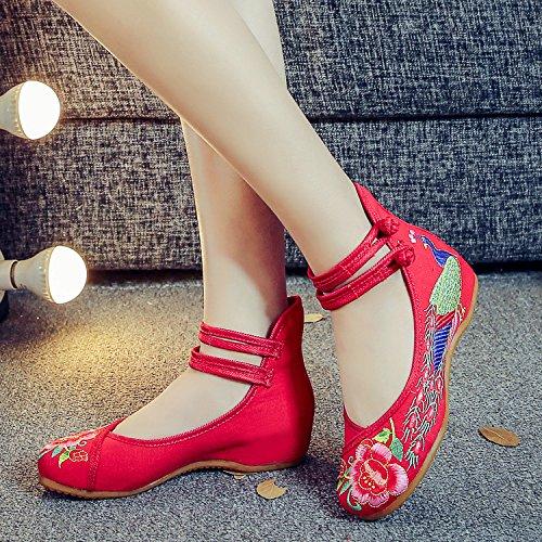 ¨¦tnico bordados femenina del aumento de lenguado tend¨®n moda del xiuhuaxie red dentro casual zapatos c¨®modo GuiXinWeiHeng tela estilo Zapatos nqHxP0CCwg
