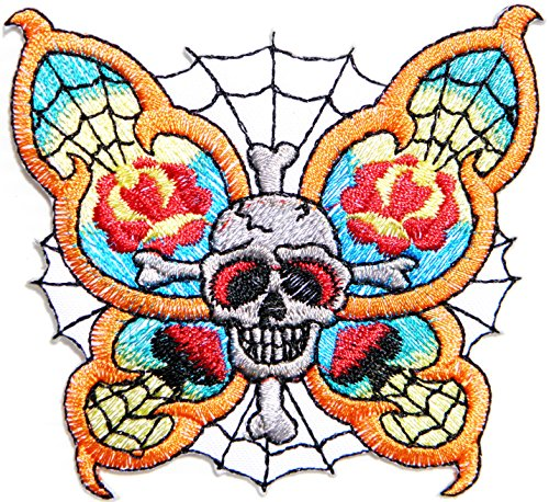 Butterfly Spider Web Skull Ghost Day Of The Death Love Never Die Rockabilly Lady Rider T-shirt Patch Sew Iron on Embroidered Applique Sign Badge Costume