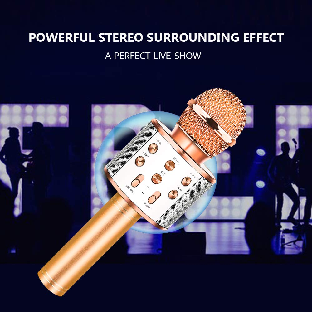 HahaGift Gifts for 3-14 Year Old Girls, Microphone Idea for Kids Toy Microphone for Kids Microphone Fun Toys for 3-14 Year Old Girls Boys (Rose Gold) by HahaGift (Image #6)