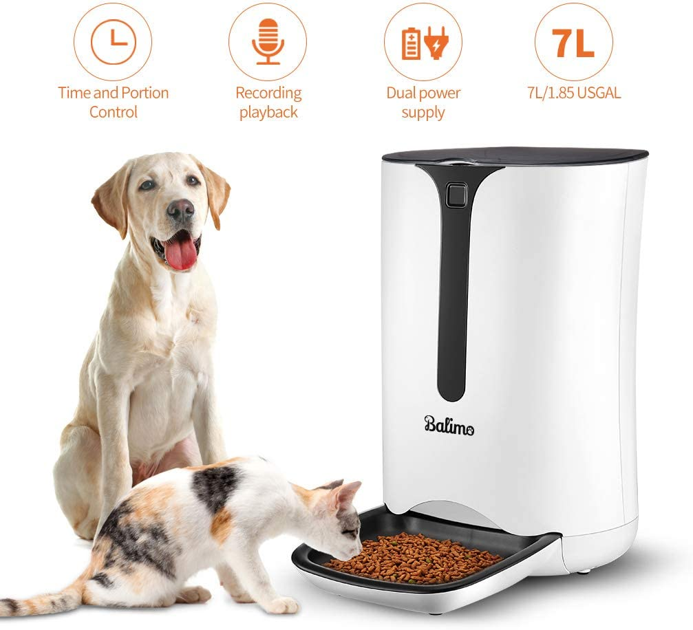 7L/1.85USGAL,Balimo Automatic Smart Pet Feeder for Cat and Dog,Food Dispenser with Distribution Alarms,Portion Control,Voice Recorder,Programmable Timer for up to 4 Meals per Day 61BJdVFxaiL