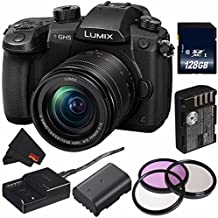 Panasonic Lumix DC-GH5 Mirrorless Micro Four Thirds Digital Camera with 12-60mm 3.5-5.6 Lens (International Model) + DMW-BLF19 Lithium Ion Battery + 128GB SDXC Class 10 Memory Card Bundle