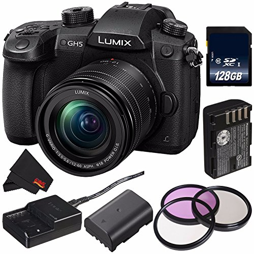 Panasonic Lumix DC-GH5 Mirrorless Micro Four Thirds Digital Camera with 12-60mm 3.5-5.6 Lens (International Model) + DMW-BLF19 Lithium Ion Battery + 128GB SDXC Class 10 Memory Card Bundle For Sale