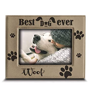 Amazoncom Bella Busta Best Dog Ever Engraved Leather Picture