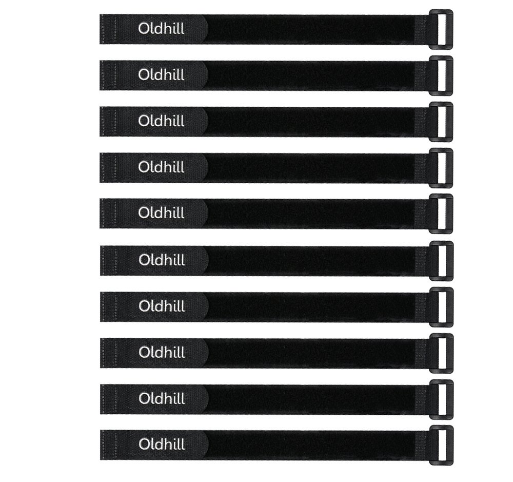 Oldhill Hook and Loop Cinch Straps Adjustable and Reusable - 10 Pack (12' x 0.8', Black)