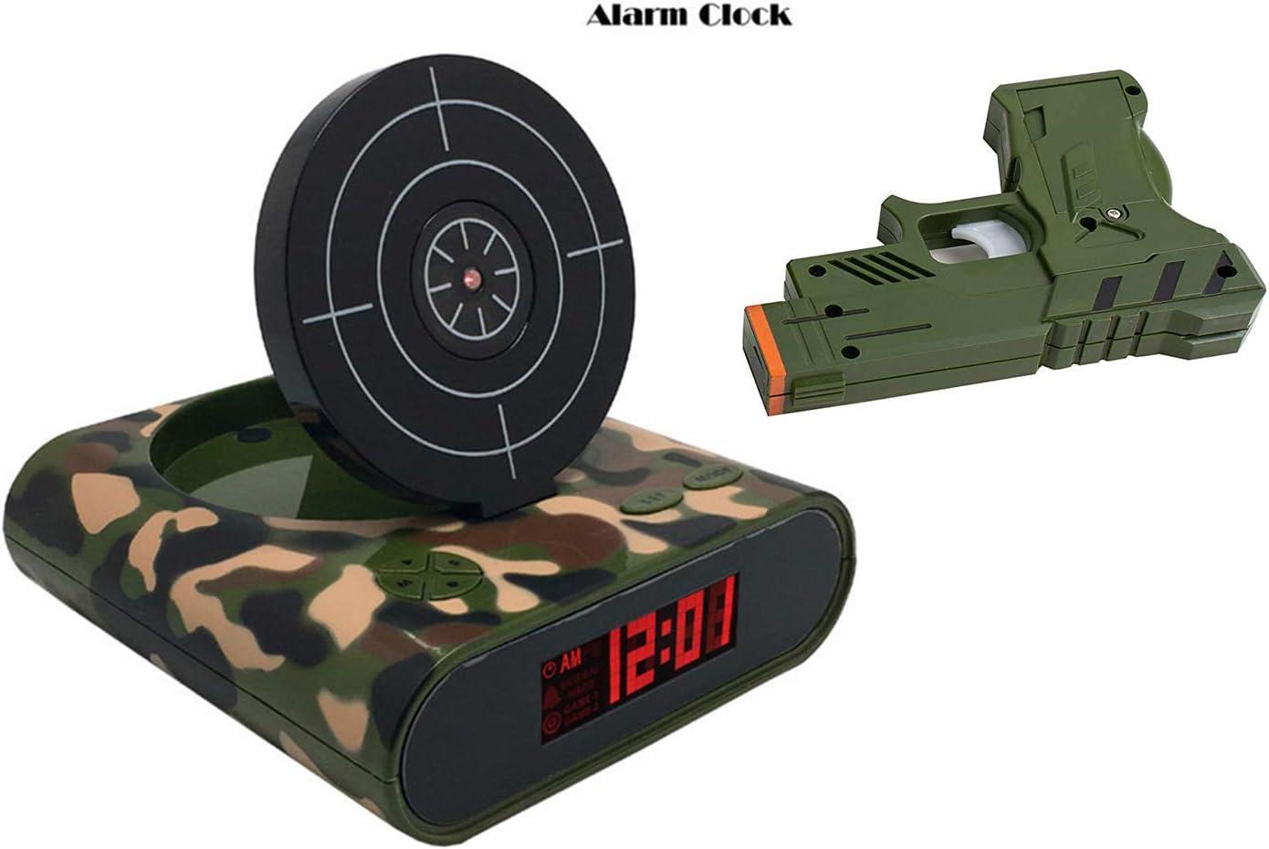 AYUMIGZM Pistola Reloj Despertador, Pantalla LED, Puerto USB, 12/24 Horas, Snooze, Camuflaje