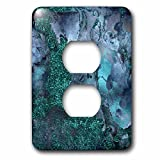 3dRose Uta Naumann Luxury Gemstone Marble Background - Blue and Teal Ombre Gemstone Ink Glitter Marble - Light Switch Covers - 2 plug outlet cover (lsp_265468_6)
