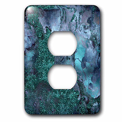 3dRose Uta Naumann Luxury Gemstone Marble Background - Blue and Teal Ombre Gemstone Ink Glitter Marble - Light Switch Covers - 2 plug outlet cover (lsp_265468_6) by 3dRose (Image #1)
