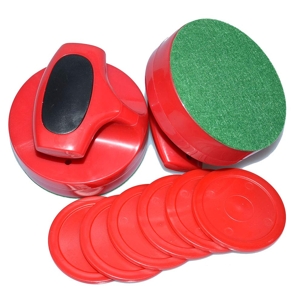 Air Hockey Red Replacement Pucks & Slider Pusher Goalies for Game Tables, Equipment, Accessories (2 Striker, 6 Puck Pack) (Pro-Series) by East Eagle