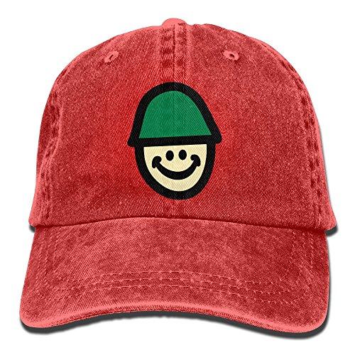 Smiley Soldier Baseball Cap Unisex Denim Fabric Hat Adjustable Snapback Hunting Cap