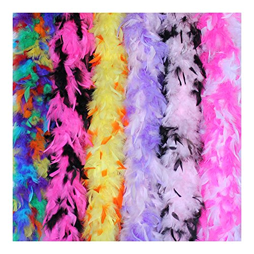 Cynthia's Feathers 6 Pieces 45 Gram Assorted Colorful Feathers Boas for Dancing Wedding Dress up Halloween Costume Decoration (Mix Colors and Tips)