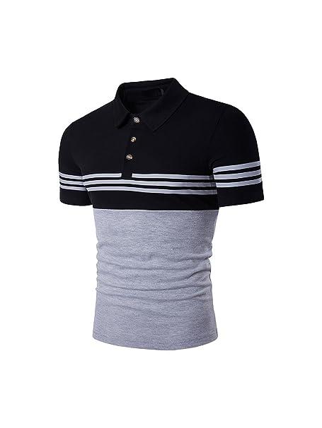 HerZii Camisetas Polos Camisas Con Rayas Moda Corta Manga para Hombre (M d2263734e9224