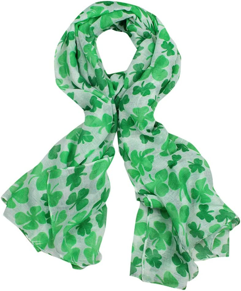 Patricks Day Costume Accessories Shamrock Printed Scarf Long Shawl Irish Green Theme Scarf for Holiday Outfits Scarves HIKO23 St