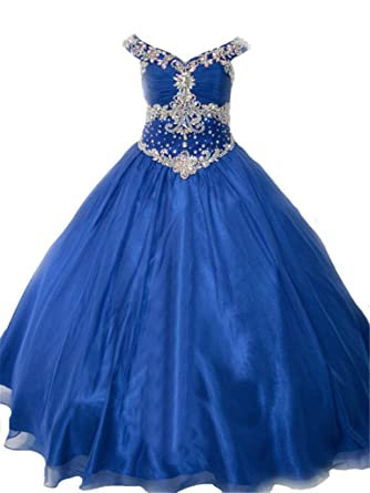 Dark Blue Ball Gown Pagent Dresses