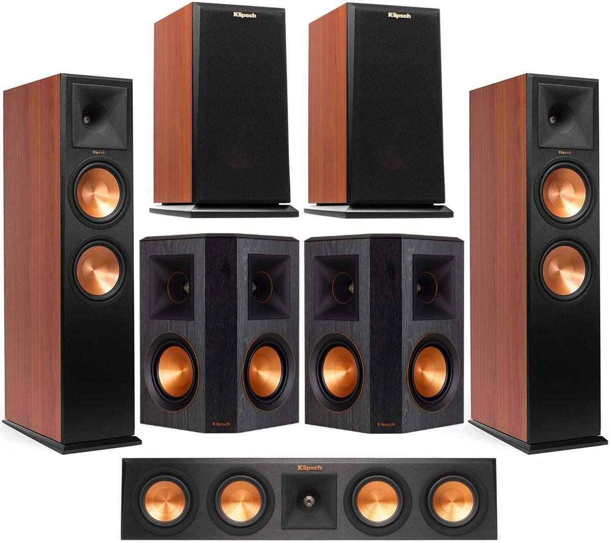 Klipsch 2 Pack Premiere RP-280FA Dolby Atmos Front Speaker (Cherry Vinyl - Bundle With RP-440C 2-Way Center Speaker Cherry, RP-150M 2-Way Bookshelf Speaker,Pair Cherry, RP-502S Surround Speakers, Pair