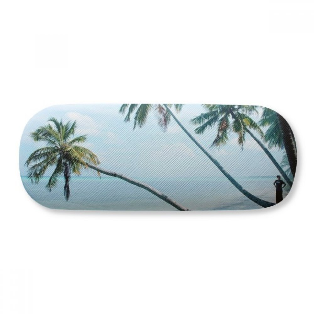 Ocean Beach Green Tree Picture Glasses Case Eyeglasses Clam Shell Holder Storage Box