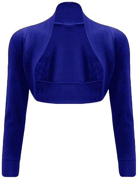 sale retailer 2d8db 0b708 Xclusive NUOVA da donna tinta unita a maniche lunghe Bolero coprispalle  Crop Cardigan S/MM/L