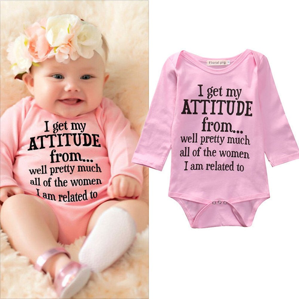 Newborn Baby Girls Bodysuit,Baby Shower Gift, Baby Girl Clothes Pink