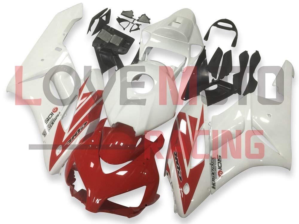 LoveMoto ブルー/イエローフェアリング ホンダ honda CBR1000 RR 2004 2005 04 05 CBR1000RR ABS射出成型プラスチックオートバイフェアリングセットのキット ホワイト レッド   B07K7ZK3Y9