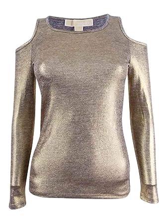 483d7b36e81ff Michael Michael Kors Petite Cold-Shoulder Top (Gold