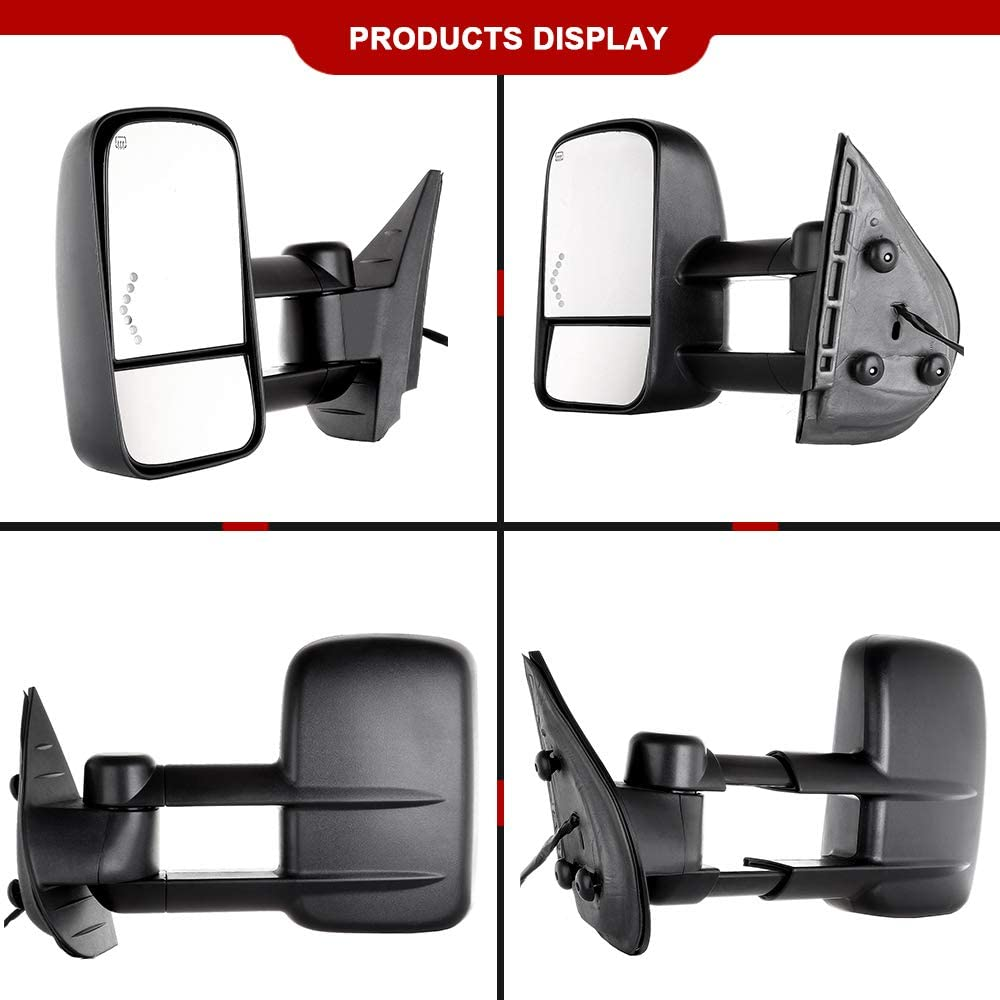 TUPARTS Tow Mirrors Towing Mirrors Compatible with 2007-2014 Chevy GMC 2007 GMC Sierra 1500//2500 HD//3500 HD Fit 07 New Body Style Only Power Adjusted Heated Turn Signal Light Black Housing