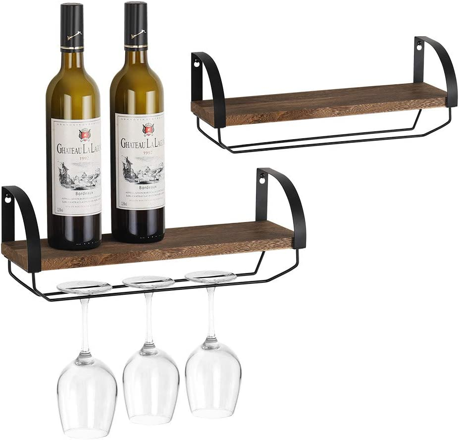 NEX Wood Wall Mounted Wine Rack with Stem Glass Holder, Rustic Wine Bottle Shelf Storage Set of 2, Home & Kitchen Display Decor