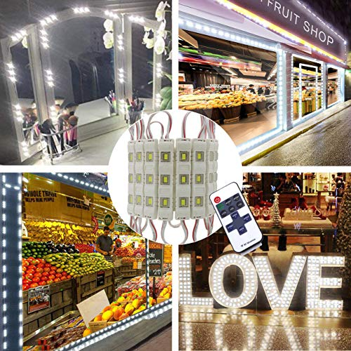 (Super Bright 20FT 40pcs LED Storefront Lights Window Light Kits LED Bulb for Indoor/Outdoor Decoration Lighting Letter Sign Advertising Signs with Tape Adhesive Backside forBusiness (White))