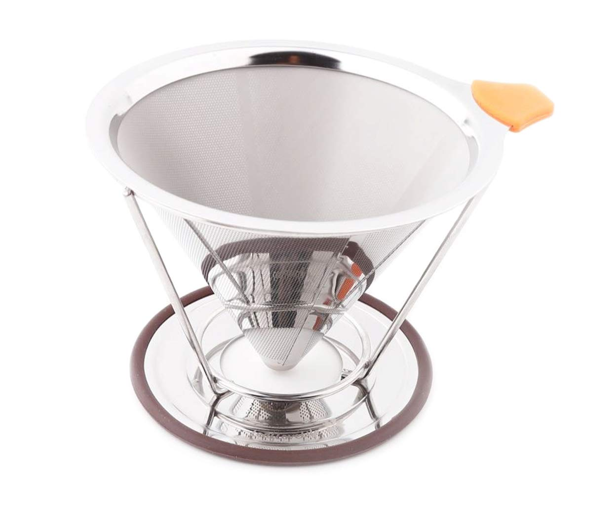 LeafLoveLife - Premium Pour Over Coffee Filter - Standard 1-to-4 Set Cup Stainless Steel, Ultra-Fine Double Mesh Paperless Dripper Cone with Silicone, Non-Slip Handle - Dishwasher Safe