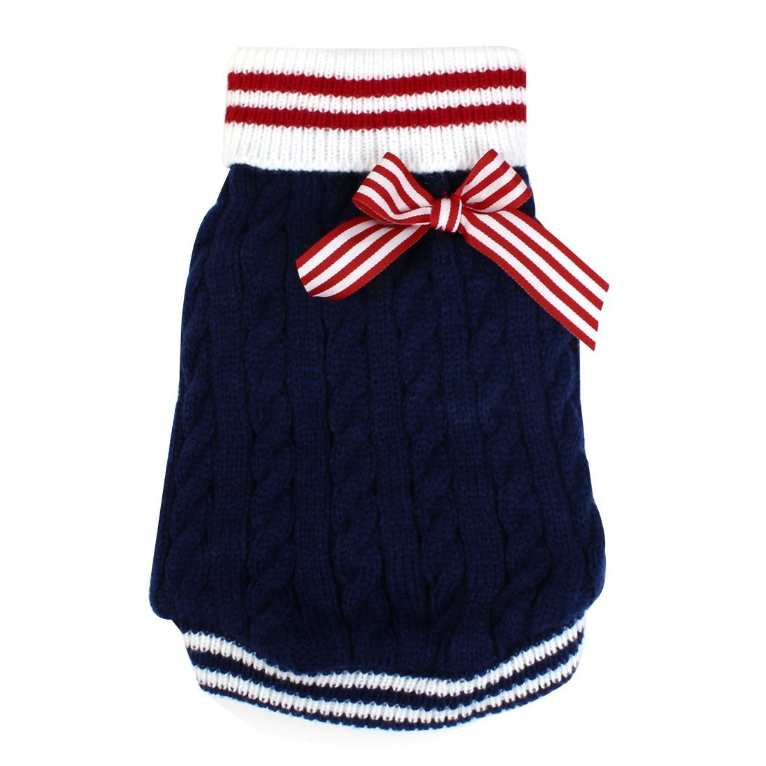 Bowknot Decor Ribbed Cuff Twisted Knitwear Pet Dog Puppy Turtleneck Apparel Sweater Size M bluee