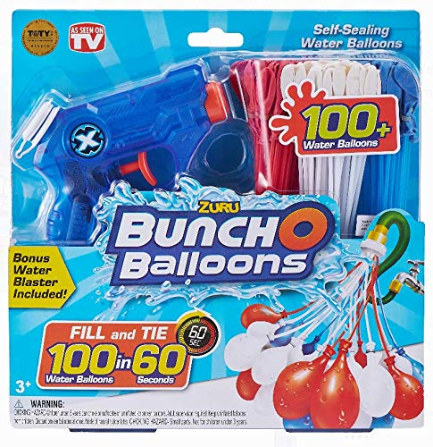 Bunch O Balloons Red White & Blue 100 Water Balloons BONUS Water Blaster by Bunch O Balloons