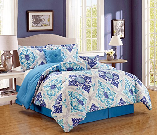 7-Piece Oversize Fine printed Designer Comforter Set QUEEN Bedding Incl Matching Pillows (Turquoise, Blue, White, Grey, Navy)