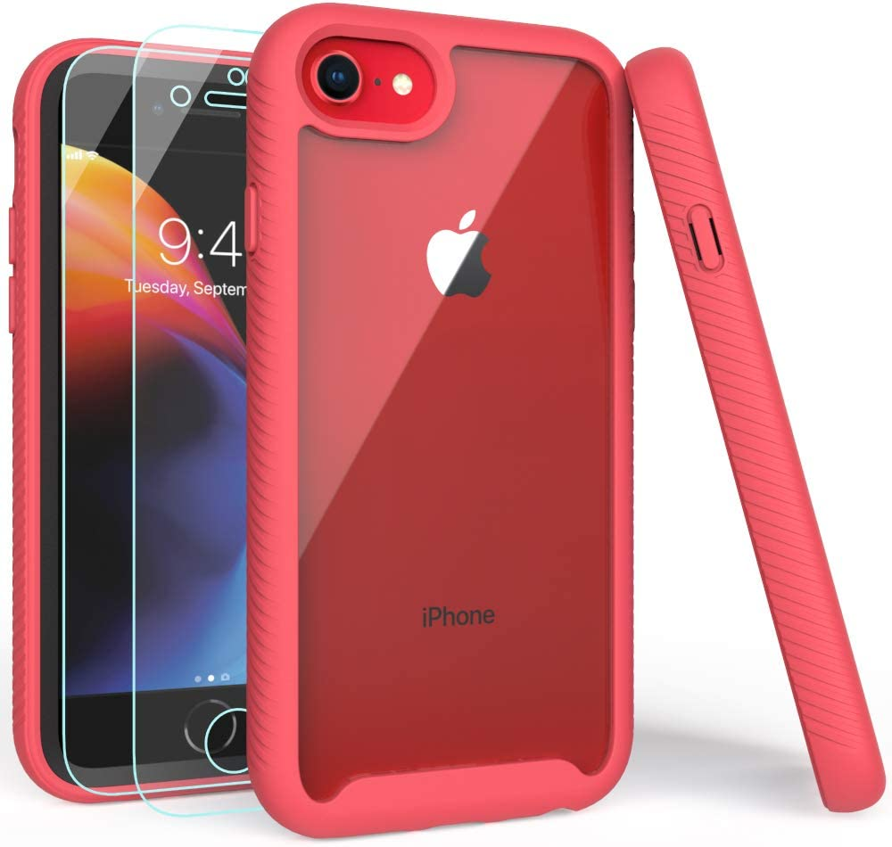 iPhone SE 2020 Case, iPhone 8 Case, iPhone 7 Case with Screen Protector, Shockproof Clear Multicolor Series Bumper Cover for 4.7 Inch iPhone 6/6s/7/8/SE 2020-Rose