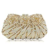 Milisente Women Evening Bag Rose Flower Crystal Banquet Clutche Purse (AB Gold)