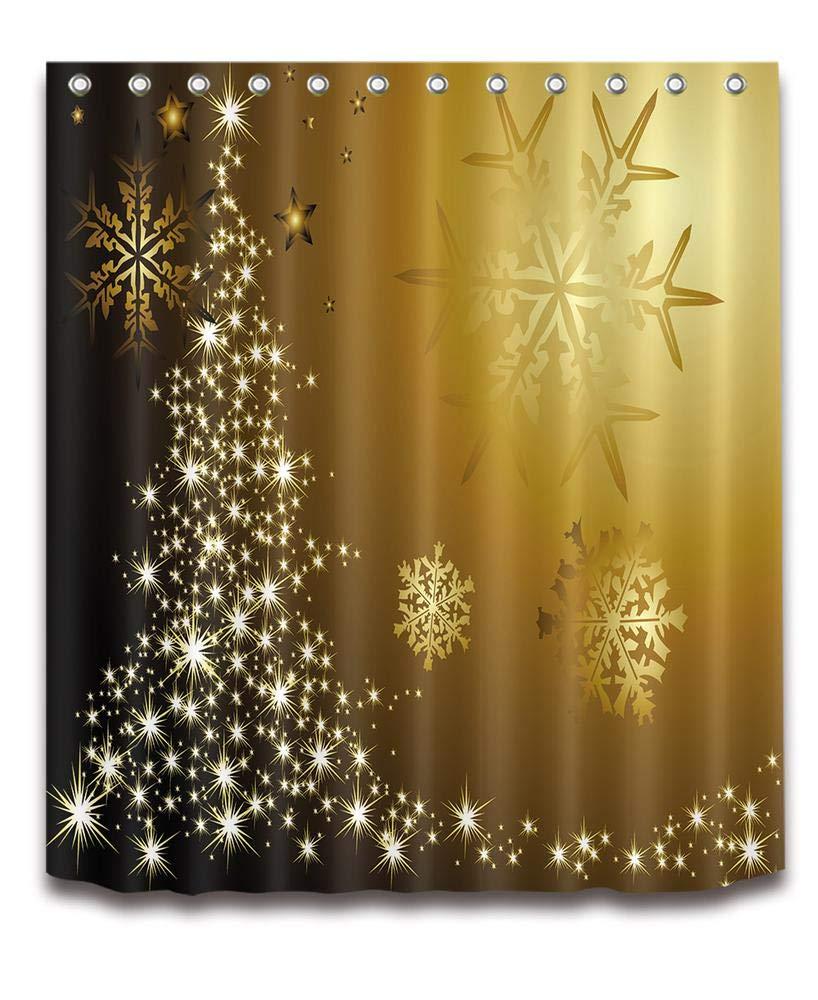 LB Frohe Weihnachten Duschvorhang Haus Dekor/Goldene Schneeflocken ...