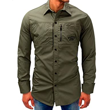 Easytoy Mens Fort Lightweight Chambray Button Front Relaxed Fit Long-Sleeve Industrial Work Shirt with