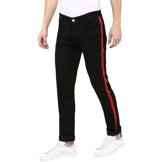 01a97f221d Urbano Fashion Men's Black Side Striped Slim Fit Jeans Stretchable  (hpsstripered-black-34