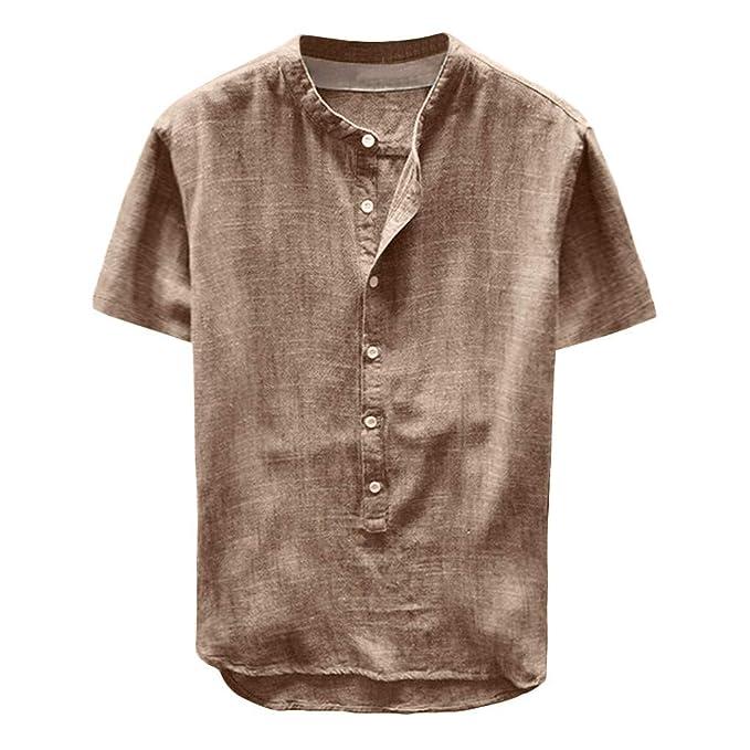 Manga Larga para Hombre Camisa Blusa de Playa de Lino de ...