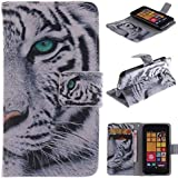 530 Case Nokia 530 Case Nokia 530 Kickstand Case,Bat King Tribe Mighty Tiger Pattern Premium Leather Wallet Flip Kicstand Case Cover With Magnetic Closure For Nokia Lumia 530