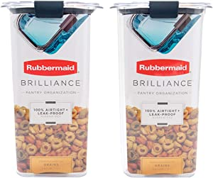 Rubbermaid Brilliance Containers, BPA-Free Plastic, 6.6 Cup Rubbermaid Brilliance Pantry Airtight Food Storage, 2 Pack