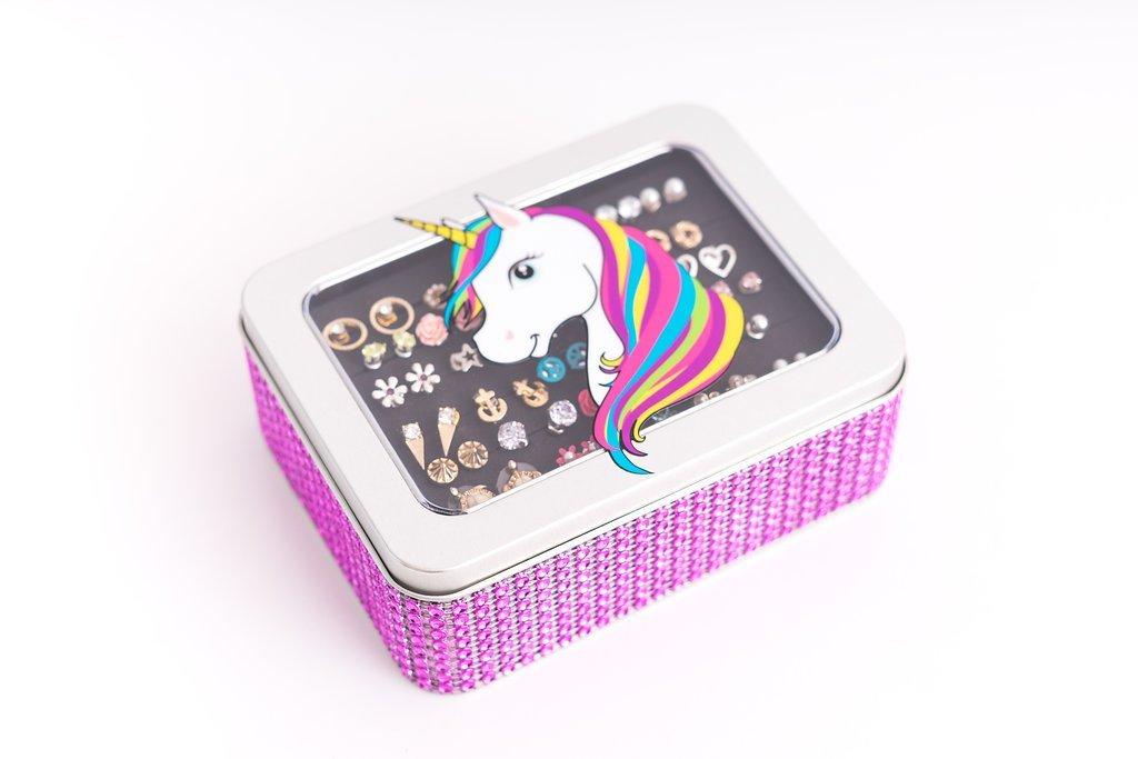 Unicorn Jewelry Box - Hot Pink Jeweled Ribbon - Earring Storage