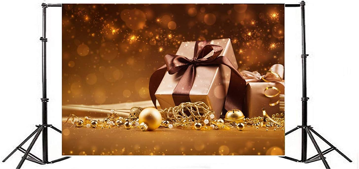 Christmas New Year Backdrop 10x6.5ft Polyester Luxurious Gifts Golden Xmas Decorations Bokeh Haloes Background Christmas New Years Eve Celebrating Party Banner Child Baby Adult Portrait Shoot