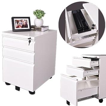 ainfox funda para 3 cajones mueble archivador móvil con ruedas de almacenamiento negro y marrón: Amazon.es: Oficina y papelería