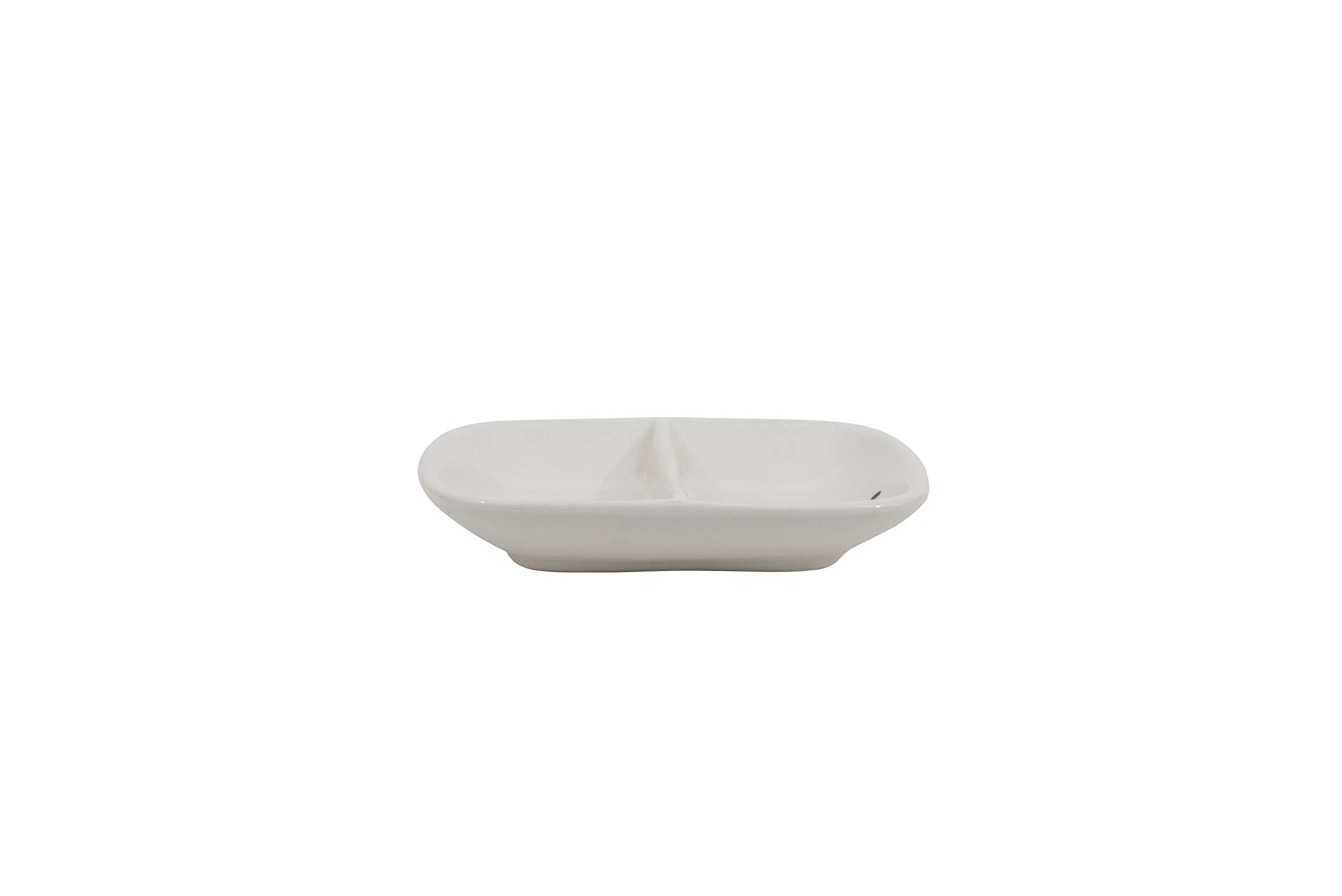 Creative Co-Op Ceramic ''Mr. & Mrs.'' Two Section Dish, White by Creative Co-op (Image #3)